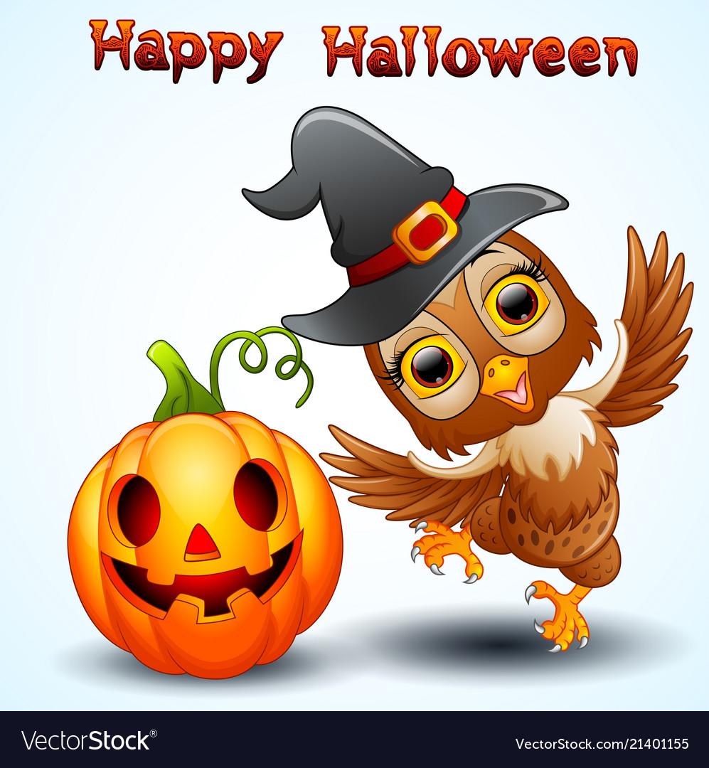 Owl cartoon with halloween hat and pumpkin