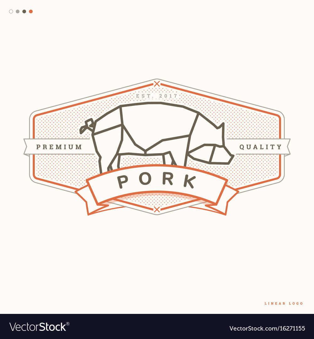 Pork linear logo vector image