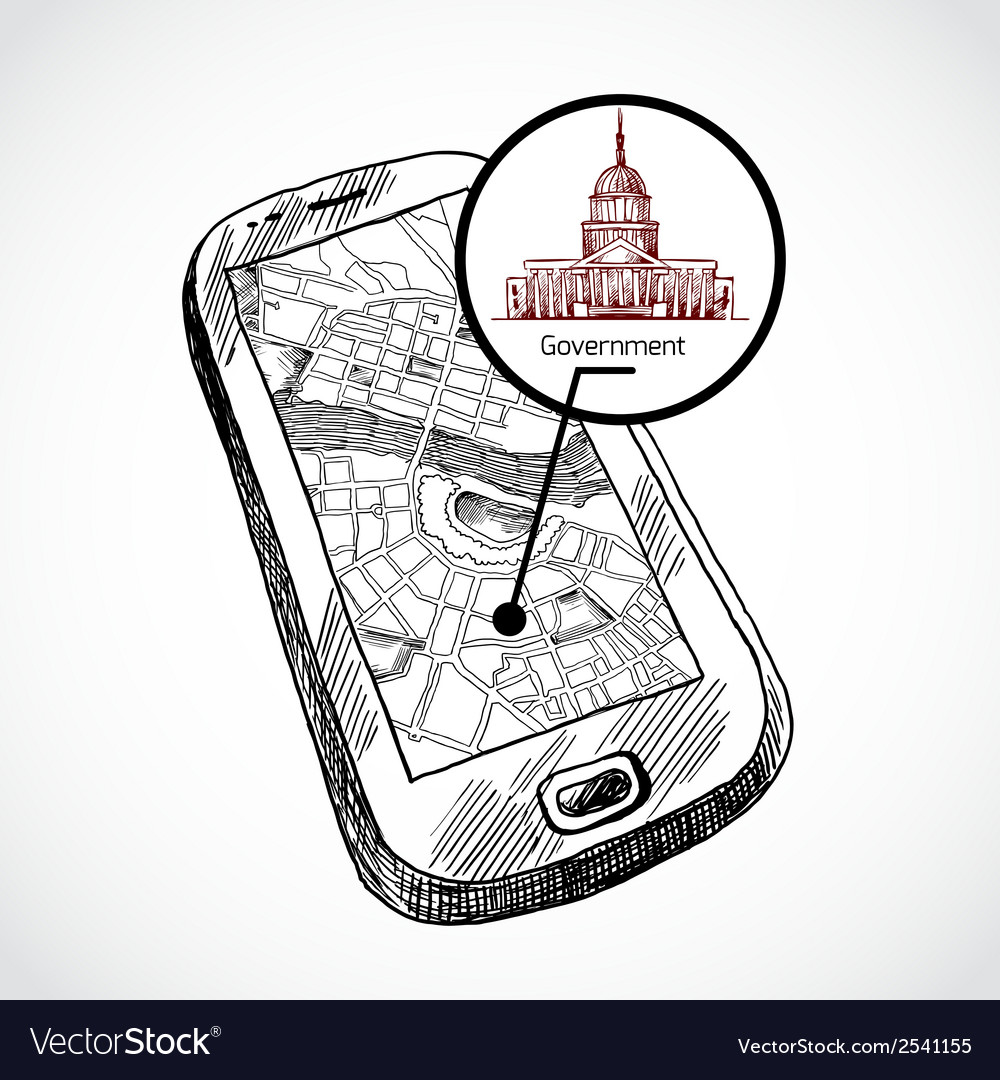 Sketch draw smartphone with map vector image