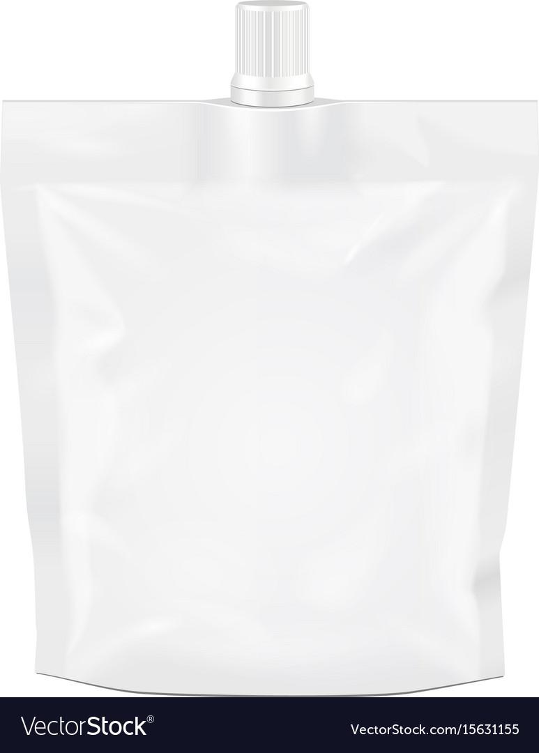 White blank doy-pack doypack foil food or drink