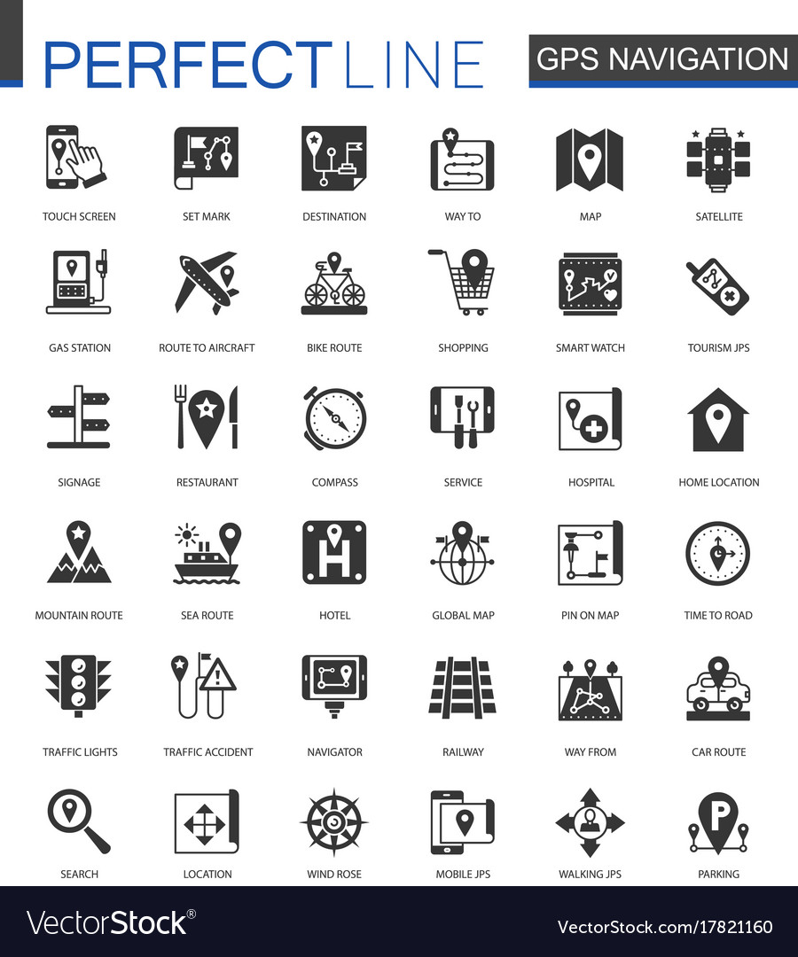 Black classic navigation direction maps and