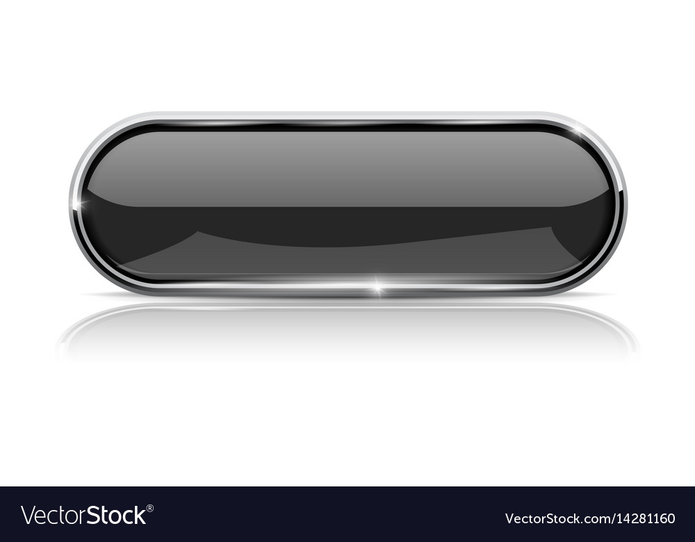 Black oval button with metal frame vector image