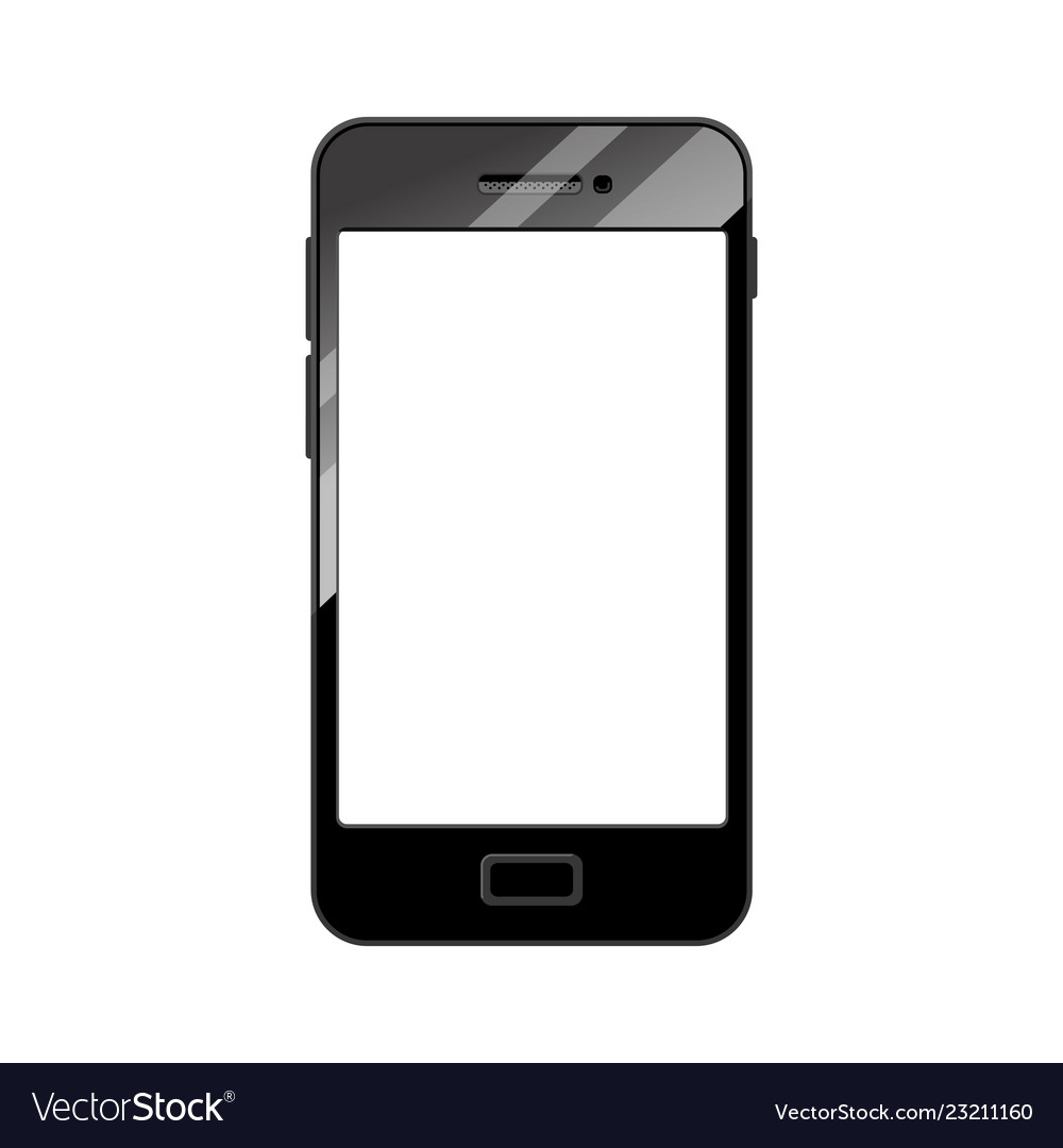 Black realistic smartphone with blank screen