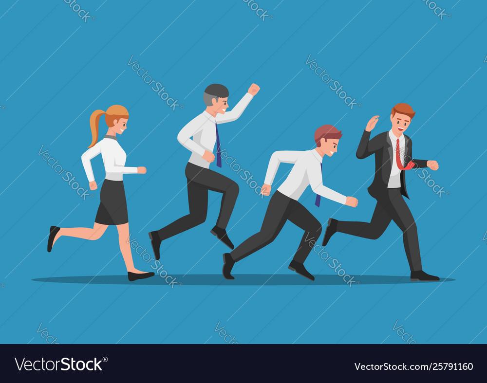 Business team run follow leader