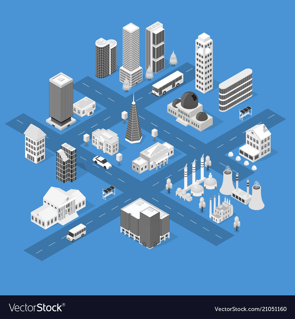 City map concept 3d isometric view