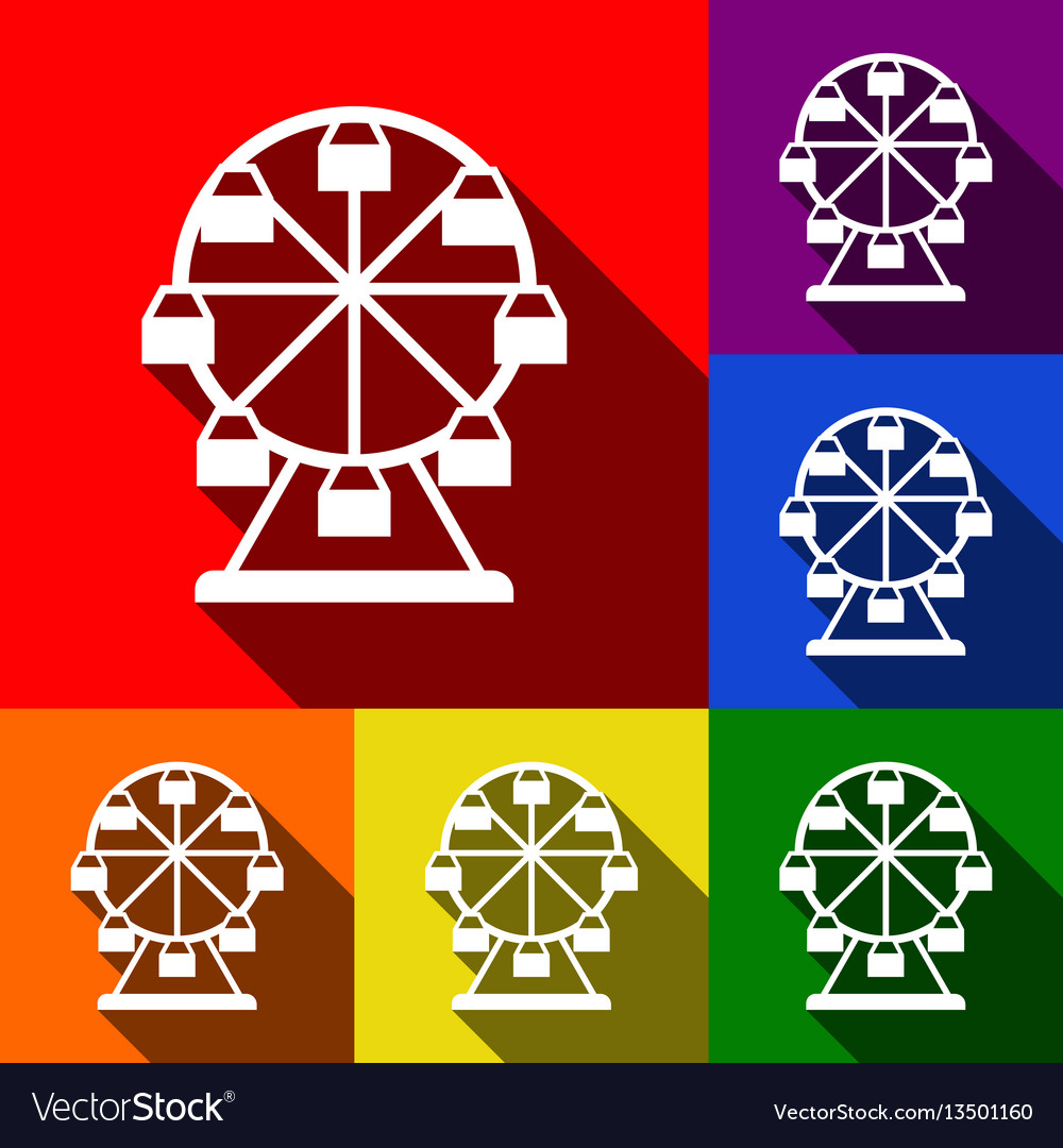 Ferris wheel sign set of icons with flat