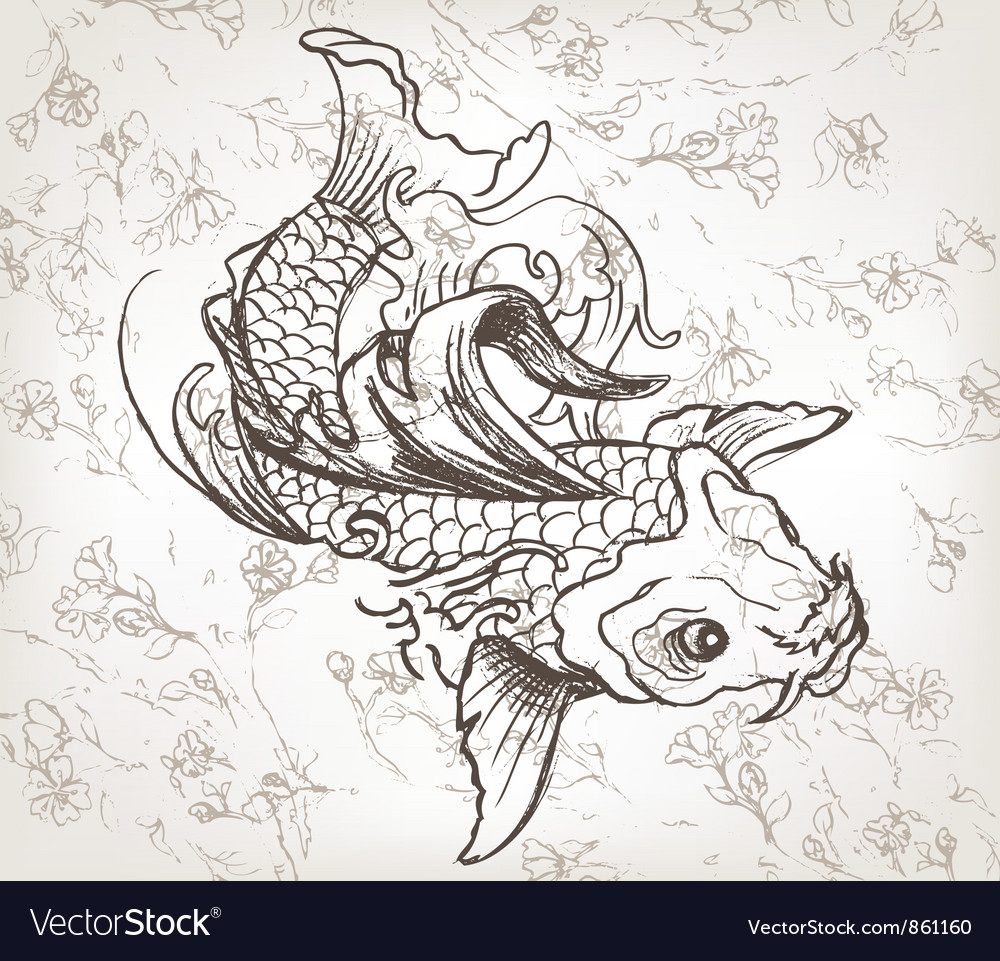Hand drawn koi fish vector image