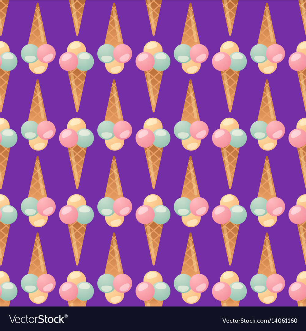Ice cream seamless pattern background dessert vector image