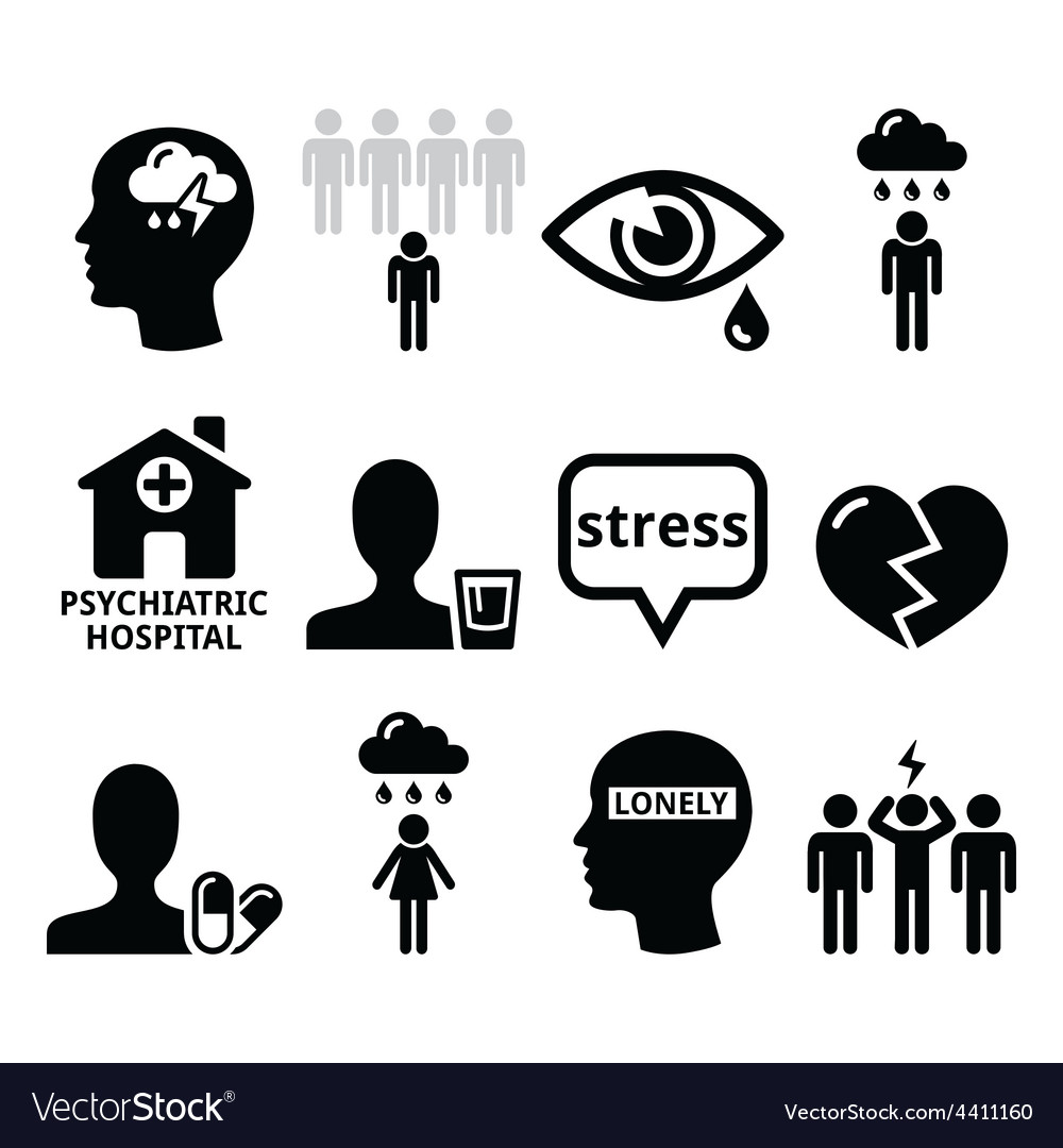 Mental health icons - depression addiction vector image