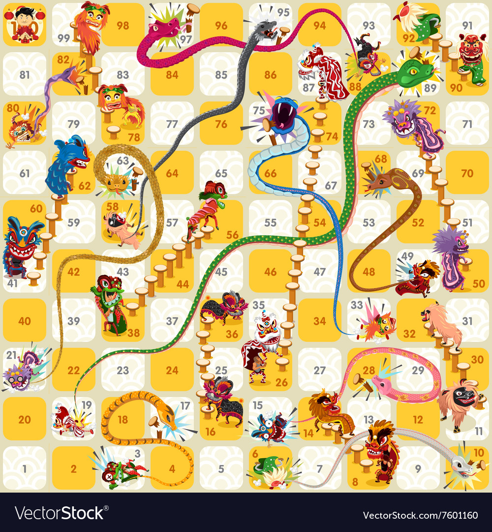 Snake and Ladder BoardGame Chinese New Year