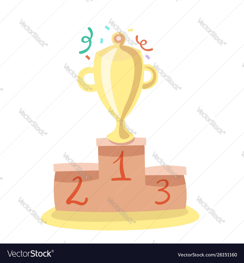 Trophy cup flat cartoon icon with
