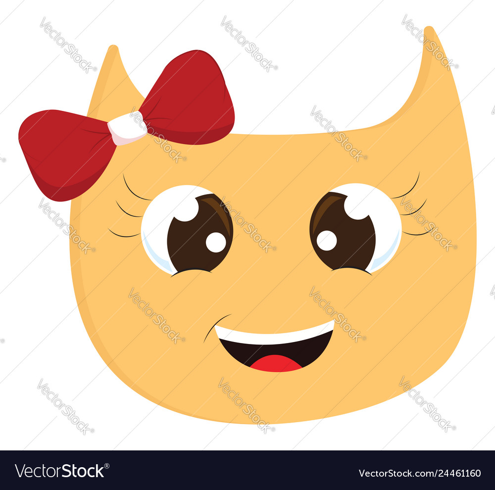 Yellow smiling cat with red hair bow on white