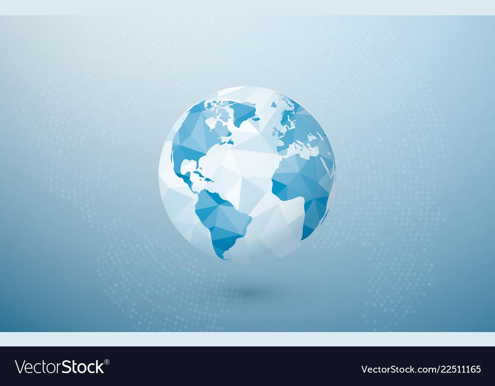 Abstract polygonal planet world globe map