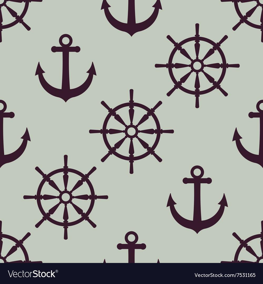 Anchor and ship wheel Nautical texture