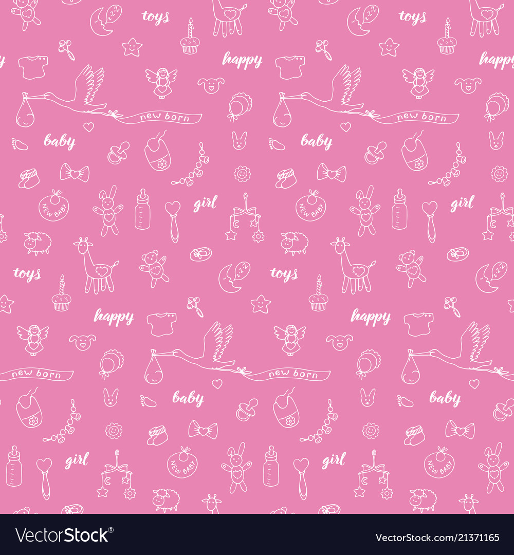 Baby girl doodle and lettering seamless pattern