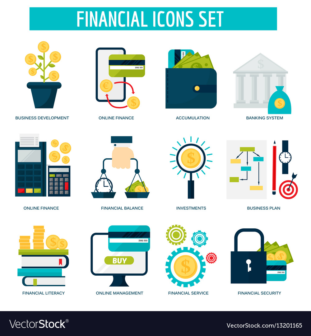 Banking money financial services set credit sign