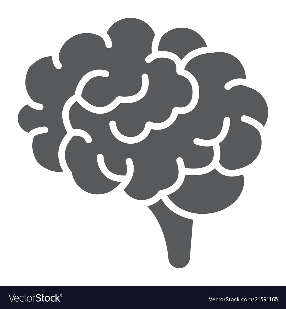 Brain glyph icon anatomy and neurology