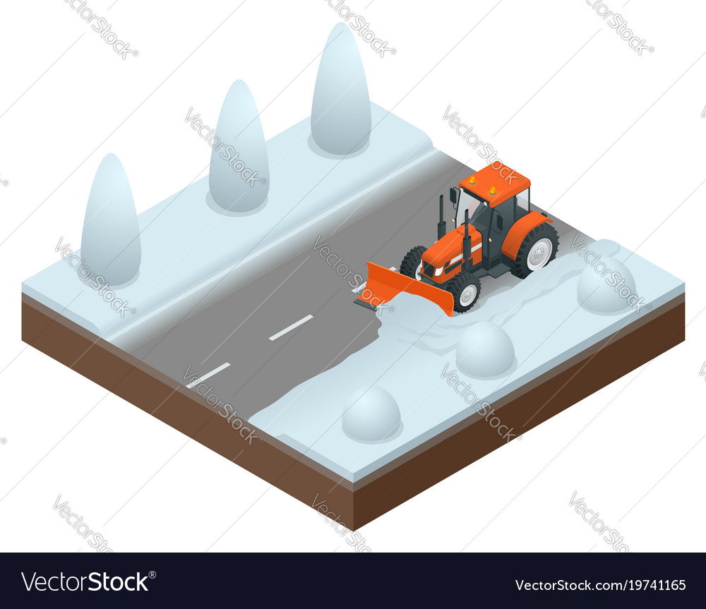 Isometric bulldozer cleans from the road old snow vector image