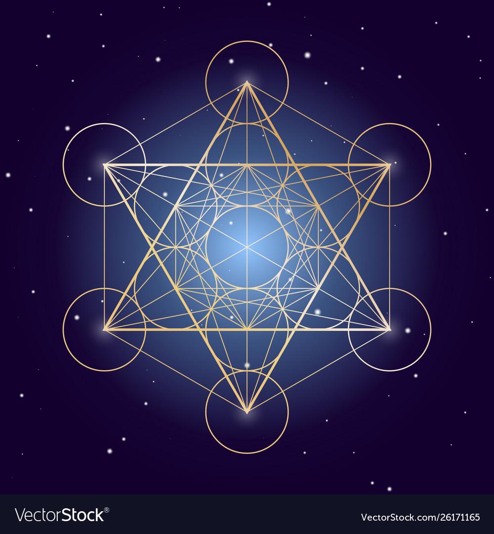 Metatron cube symbol on a starry sky elements of