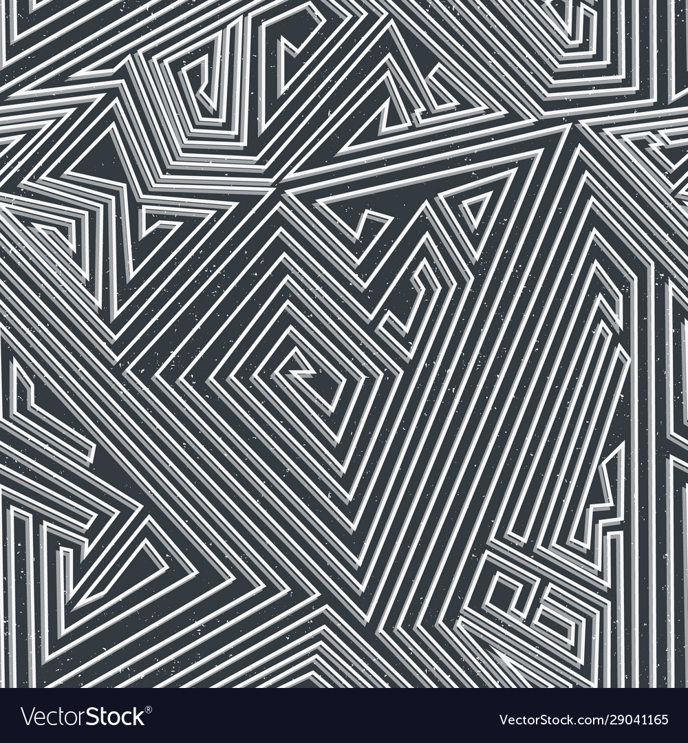 Monochrome maze seamless pattern with grunge vector