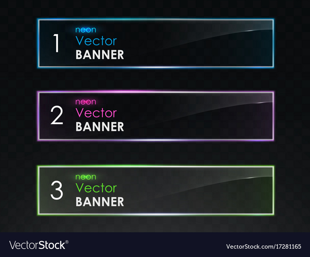 Realistic neon light horizontal banners set vector image