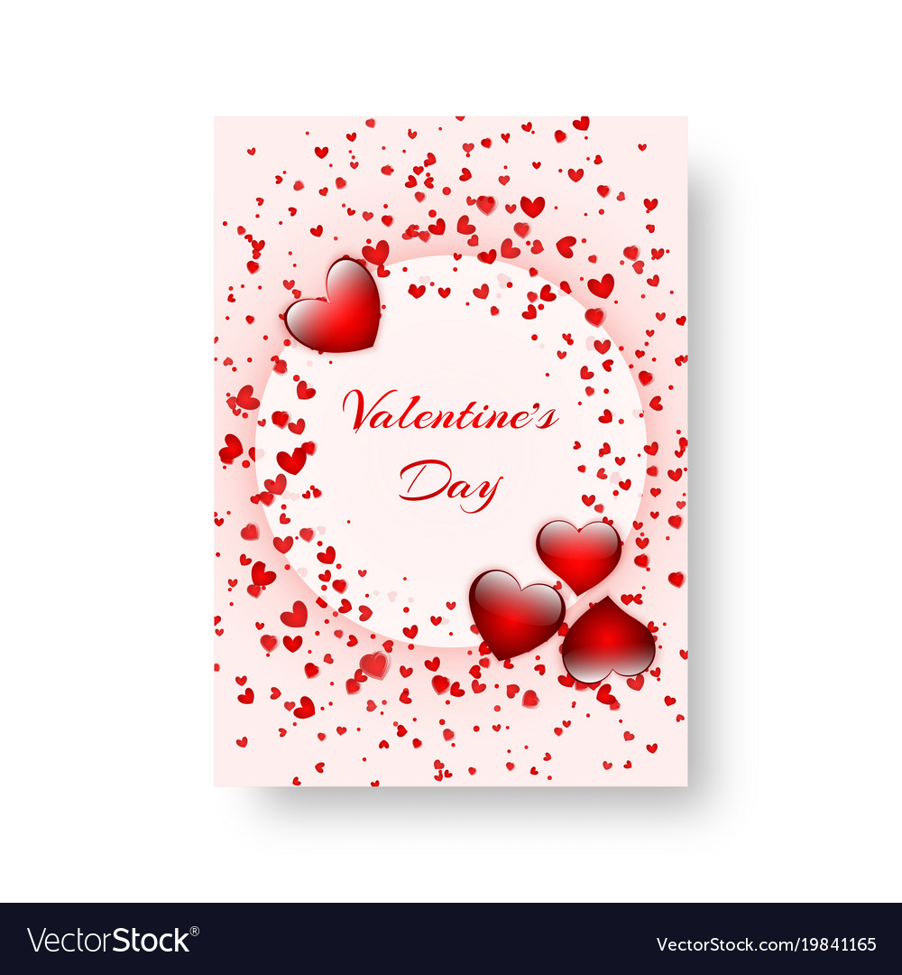 Rectangular notebook with scarlet hearts vector image