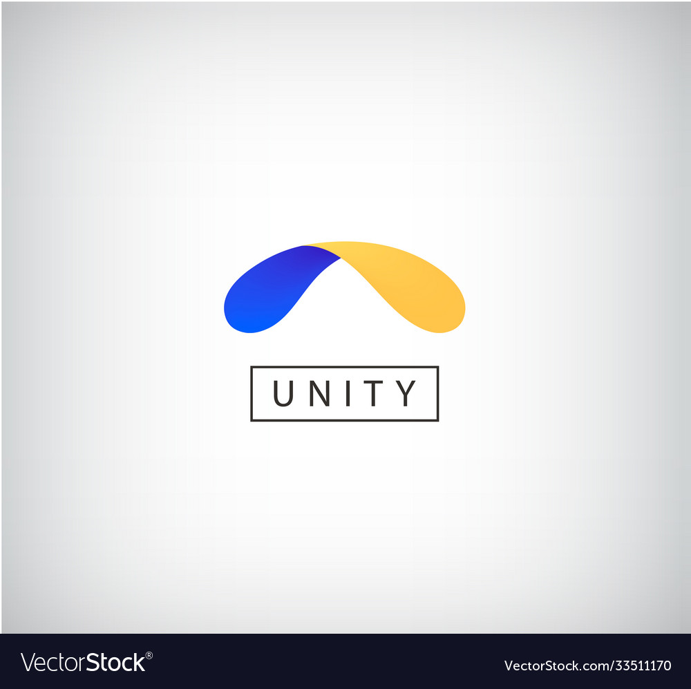 Abstract shape logo dual unity arc icon