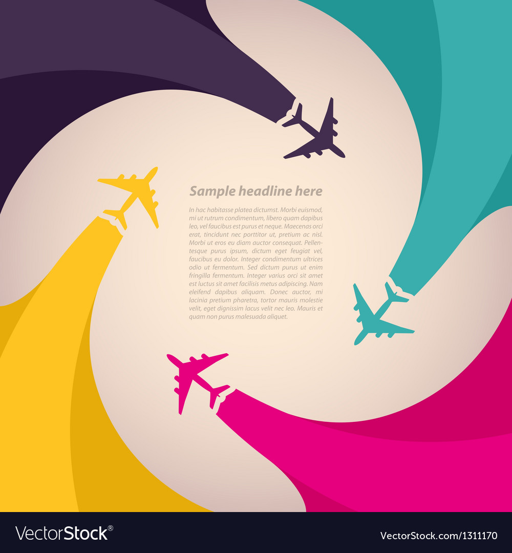 Background with colorful airplanes