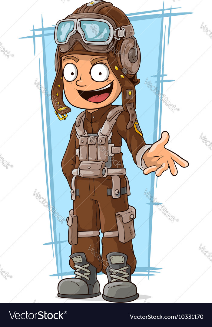 Cartoon retro pilot in leather vector image