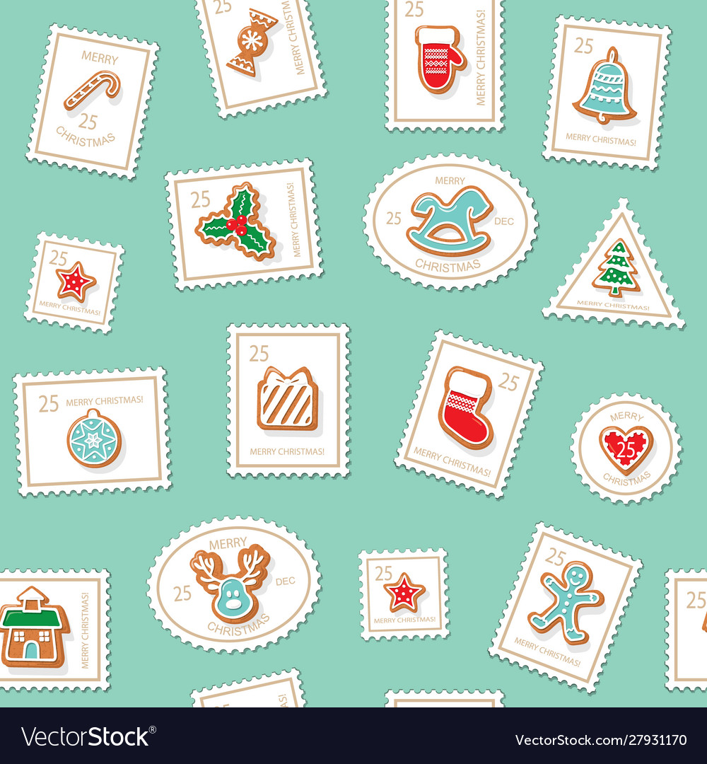 Christmas postage stamps seamless background