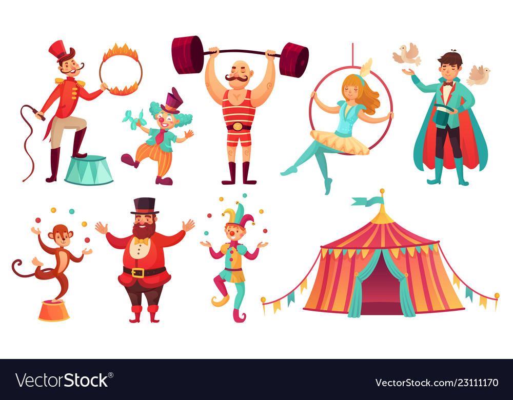 Circus characters juggling animals juggler