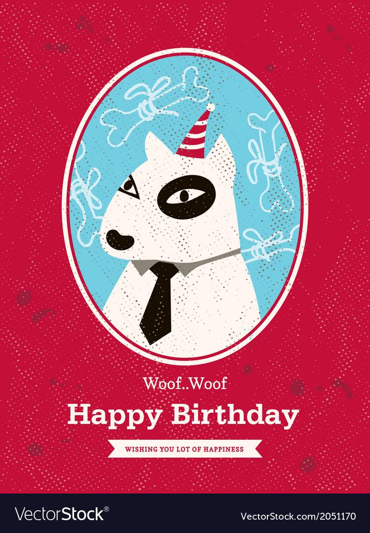 Cute bull terrier Dog Cartoon Birthday card design