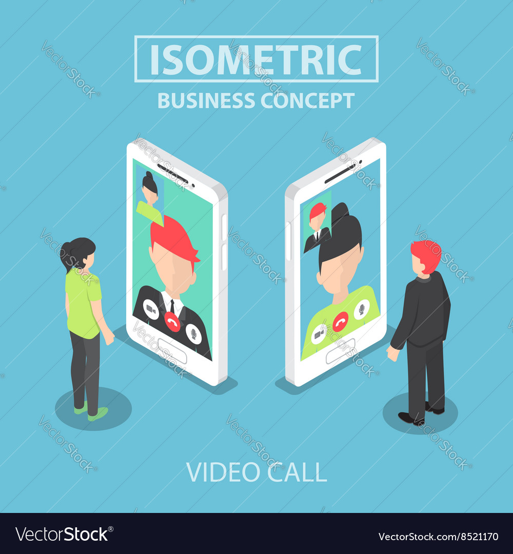 Isometric businessman make video call