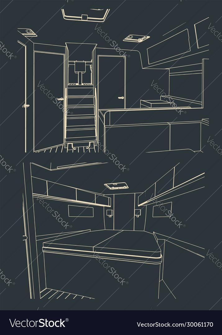 Sailing yacht interior sketches