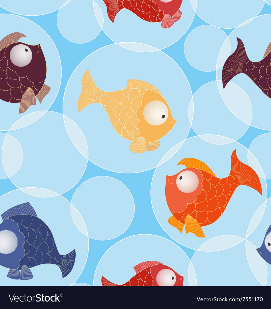 Seamless pattern with little gold and color fishes