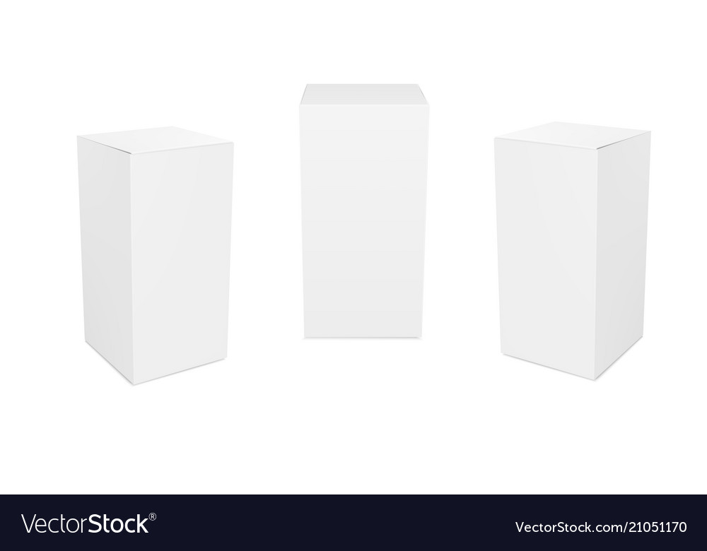Set of small wide white cardboard boxes