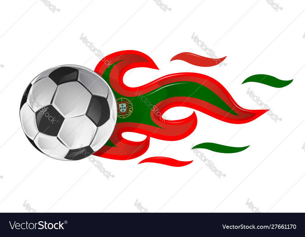 Soccer ball on fire with portugal flag
