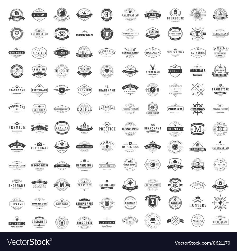 Vintage logos design templates set