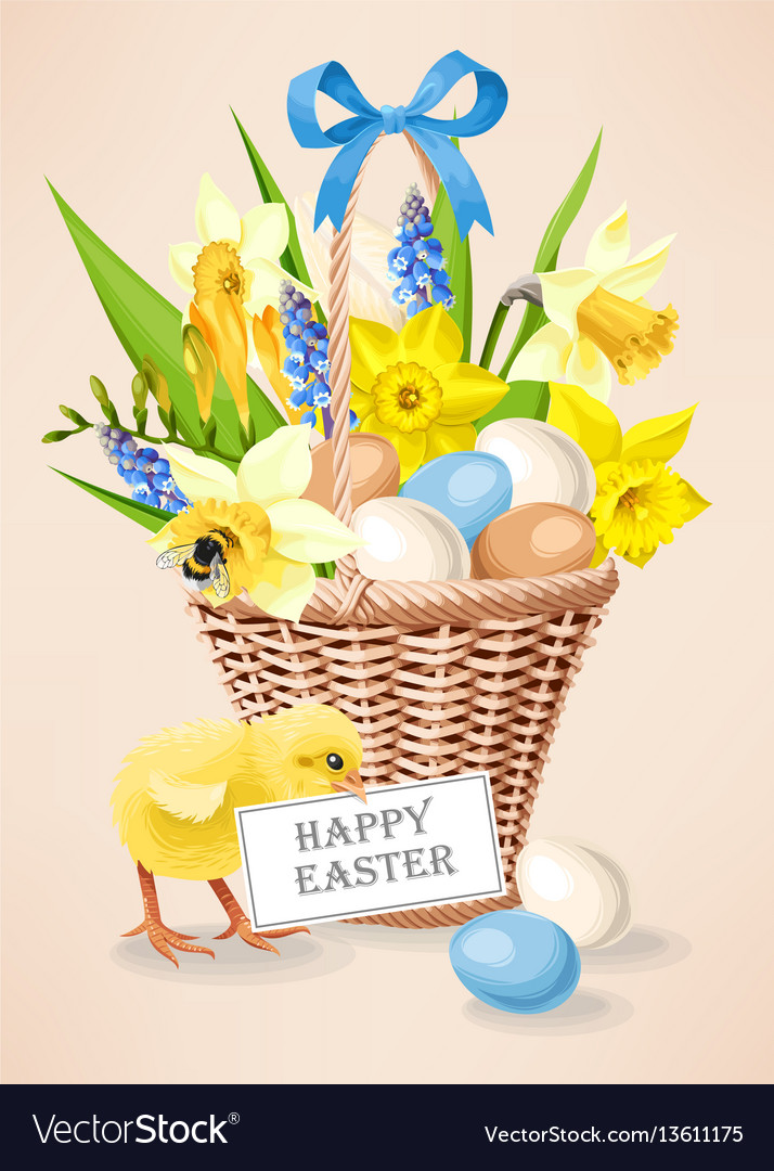 A basket with eggs vector