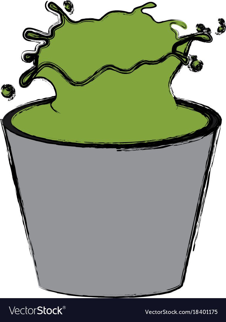 Bucket with green paint