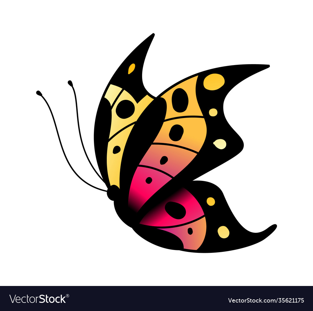 Colorful stylized butterfly flying bright insect