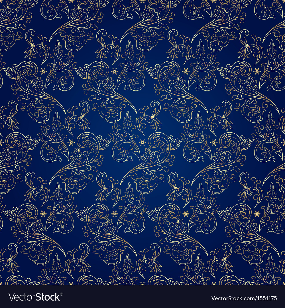 Floral Vintage Seamless Pattern On Blue Background