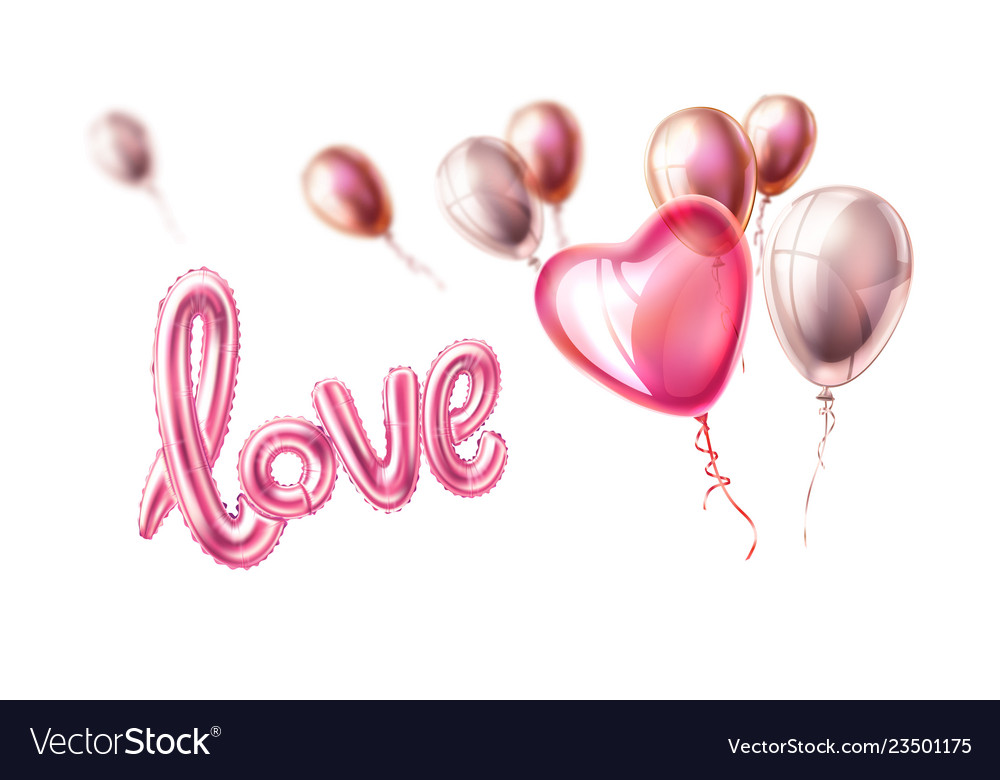 Love realistic rubber balloon heart on pink