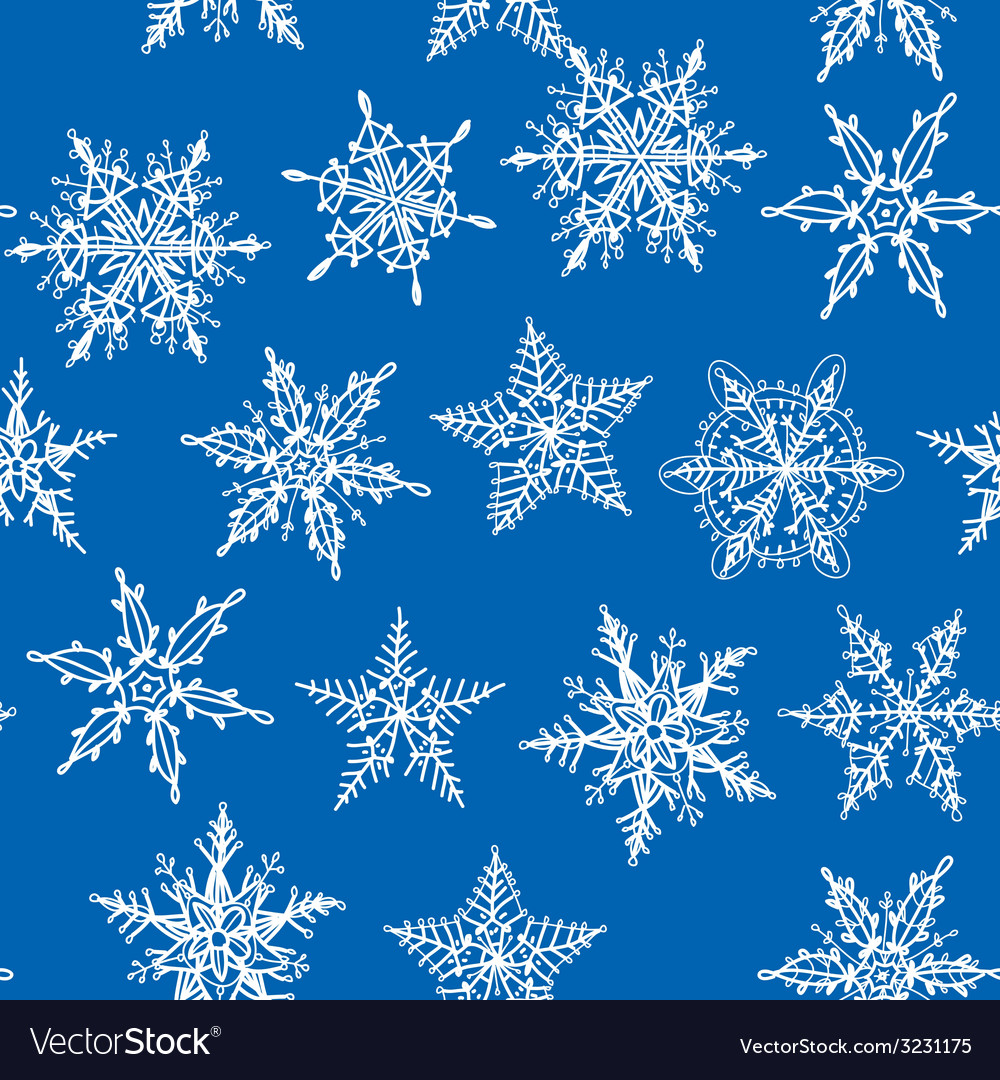 Seamless winter background with snowflakes on blue vector image
