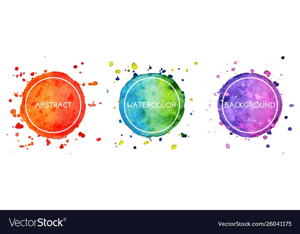 Set 3 multicolor watercolor hand drawn circles