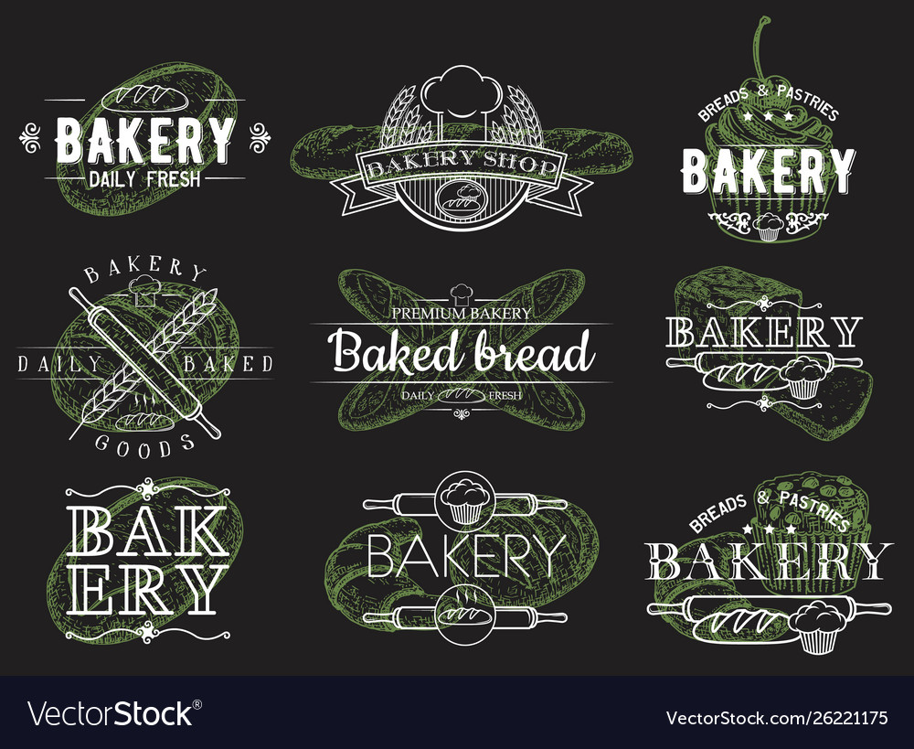 Set vintage bakery emblems logos