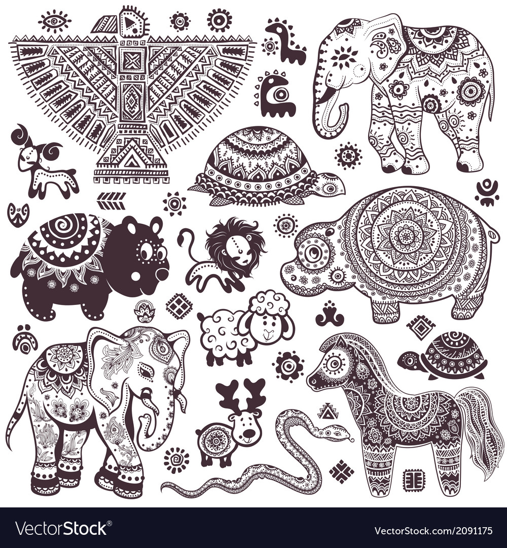 Vintage set of isolated ethnic animals and symbols