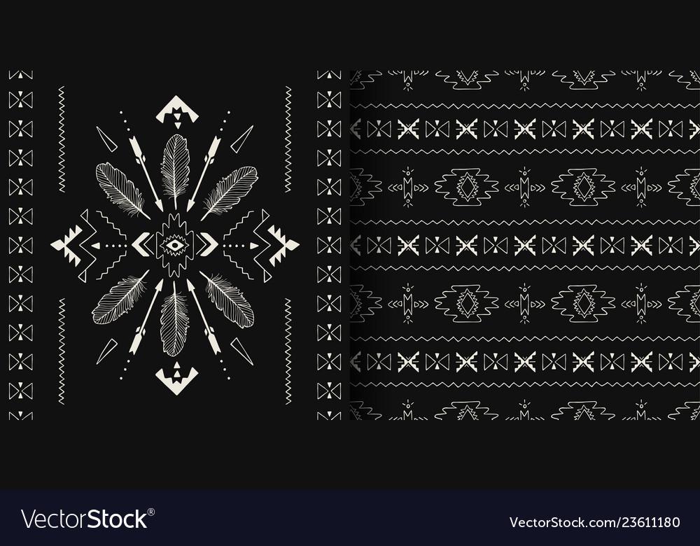 Black and white handmade aztec boho seamless