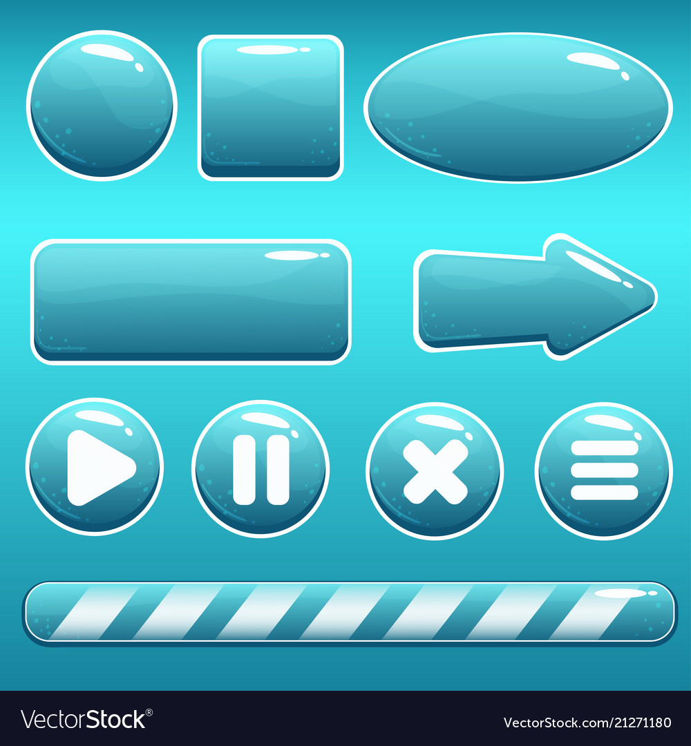 Cartoon water buttons and loading bar for gui