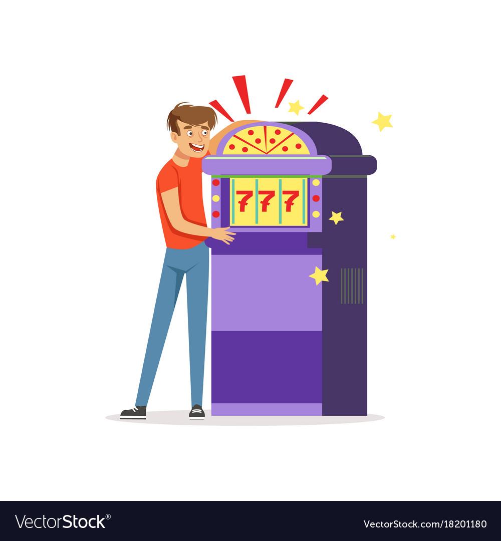 Crazy depressed man gambling at slot machine bad